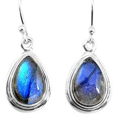 8.06cts natural blue labradorite 925 sterling silver dangle earrings t16186