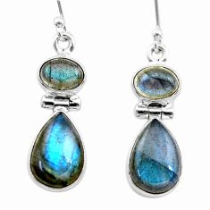 11.13cts natural blue labradorite 925 sterling silver dangle earrings t19540