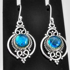 6.39cts natural blue labradorite 925 sterling silver dangle earrings t4050
