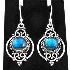6.66cts natural blue labradorite 925 sterling silver dangle earrings t4054