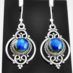 6.74cts natural blue labradorite 925 sterling silver dangle earrings t4056