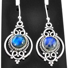 6.44cts natural blue labradorite 925 sterling silver dangle earrings t4057