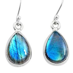 9.49cts natural blue labradorite 925 sterling silver dangle earrings t4375