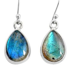 9.16cts natural blue labradorite 925 sterling silver dangle earrings t4376