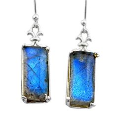 12.14cts natural blue labradorite 925 sterling silver dangle earrings t44602