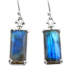11.49cts natural blue labradorite 925 sterling silver dangle earrings t44606