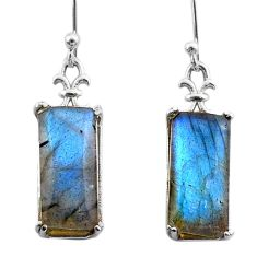 11.99cts natural blue labradorite 925 sterling silver dangle earrings t44607