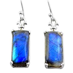 11.62cts natural blue labradorite 925 sterling silver dangle earrings t44609
