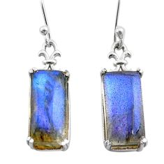 11.13cts natural blue labradorite 925 sterling silver dangle earrings t44610