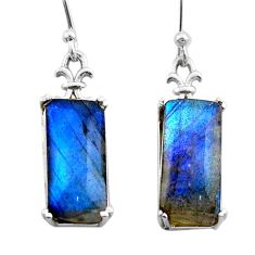 12.04cts natural blue labradorite 925 sterling silver dangle earrings t44611