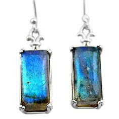 12.14cts natural blue labradorite 925 sterling silver dangle earrings t44613