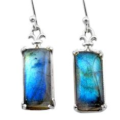 12.17cts natural blue labradorite 925 sterling silver dangle earrings t44614