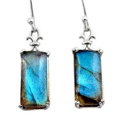 11.65cts natural blue labradorite 925 sterling silver dangle earrings t44617