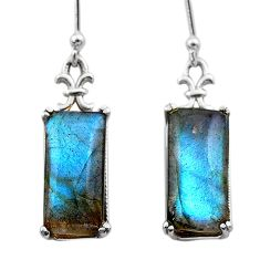 11.62cts natural blue labradorite 925 sterling silver dangle earrings t44620