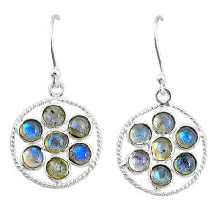 5.11cts natural blue labradorite 925 sterling silver dangle earrings t4618