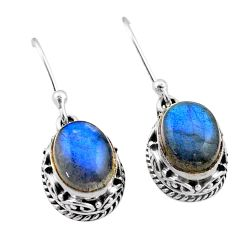 6.36cts natural blue labradorite 925 sterling silver dangle earrings t46816