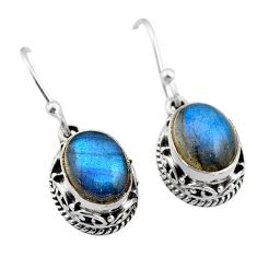 6.32cts natural blue labradorite 925 sterling silver dangle earrings t46817