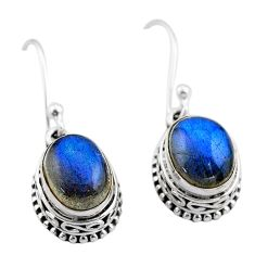 6.08cts natural blue labradorite 925 sterling silver dangle earrings t46835