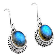 6.10cts natural blue labradorite 925 sterling silver dangle earrings t46836