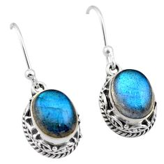 6.10cts natural blue labradorite 925 sterling silver dangle earrings t46838