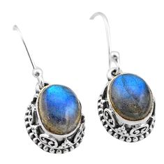 6.01cts natural blue labradorite 925 sterling silver dangle earrings t46856
