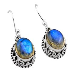 6.07cts natural blue labradorite 925 sterling silver dangle earrings t46857