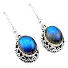 5.55cts natural blue labradorite 925 sterling silver dangle earrings t46874