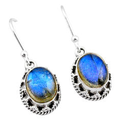 5.55cts natural blue labradorite 925 sterling silver dangle earrings t46897