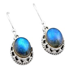 5.54cts natural blue labradorite 925 sterling silver dangle earrings t46898