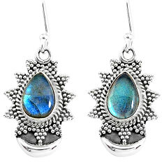 5.33cts natural blue labradorite 925 sterling silver dangle moon earrings r89175