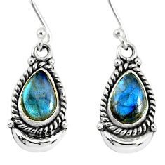 5.03cts natural blue labradorite 925 sterling silver dangle moon earrings r89220