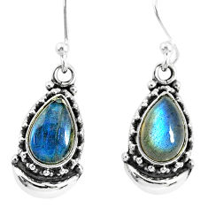 5.30cts natural blue labradorite 925 sterling silver dangle moon earrings r89235