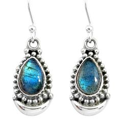 4.50cts natural blue labradorite 925 sterling silver dangle moon earrings r89353