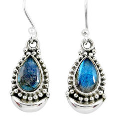5.02cts natural blue labradorite 925 sterling silver dangle moon earrings r89354