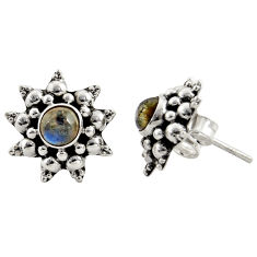 1.63cts natural blue labradorite 925 sterling silver stud earrings r22800