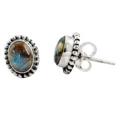 3.03cts natural blue labradorite 925 sterling silver stud earrings r22836