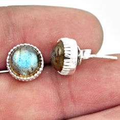 5.45cts natural blue labradorite 925 sterling silver stud earrings r38557