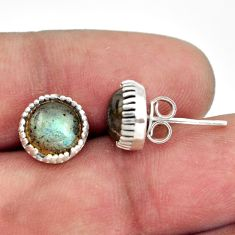 5.45cts natural blue labradorite 925 sterling silver stud earrings r38559
