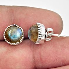 5.45cts natural blue labradorite 925 sterling silver stud earrings r38560