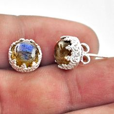 5.87cts natural blue labradorite 925 sterling silver stud earrings r38583