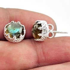 5.76cts natural blue labradorite 925 sterling silver stud earrings r38585
