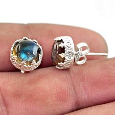 5.81cts natural blue labradorite 925 sterling silver stud earrings r38587