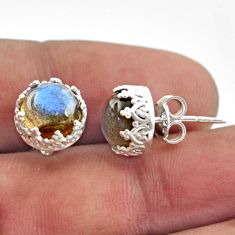 6.21cts natural blue labradorite 925 sterling silver stud earrings r38590