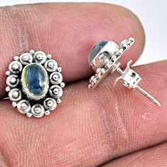 2.72cts natural blue labradorite 925 sterling silver stud earrings r55128