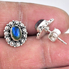 2.72cts natural blue labradorite 925 sterling silver stud earrings r55134
