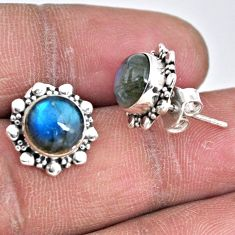 5.54cts natural blue labradorite 925 sterling silver stud earrings r55152