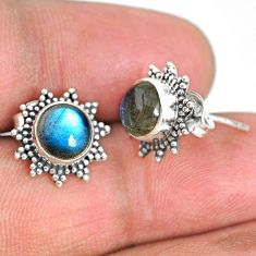 4.47cts natural blue labradorite 925 sterling silver stud earrings r67012