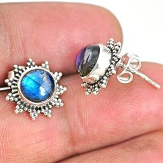 4.44cts natural blue labradorite 925 sterling silver stud earrings r67013
