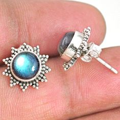 4.57cts natural blue labradorite 925 sterling silver stud earrings r67014