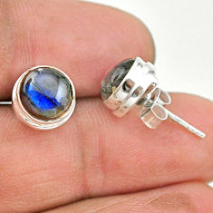 5.71cts natural blue labradorite 925 sterling silver stud earrings t19396